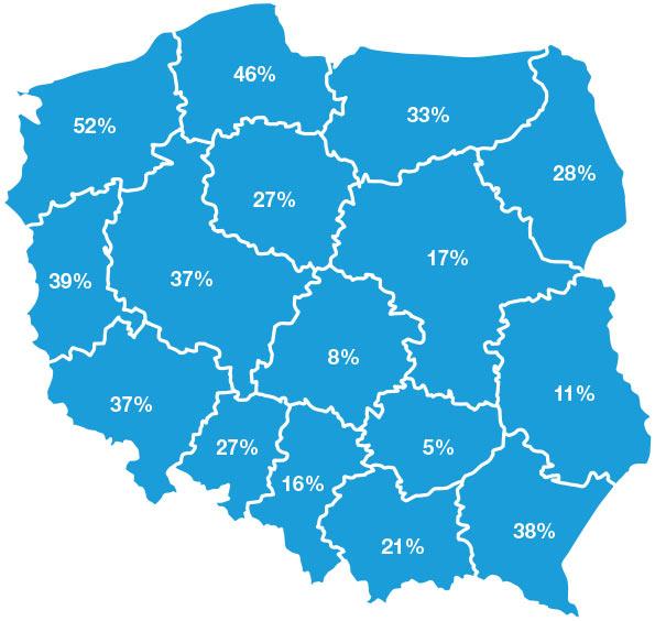 % rejonów kodowych pozamiejskich bez aptek w podziale na województwa. źródło - PASMI
